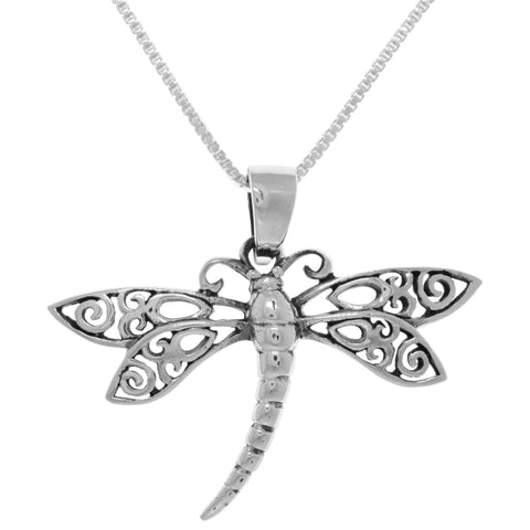 Carolina Glamour Collection Sterling Silver Filigree Wing Dragonfly Pendant on Box Chain Necklace