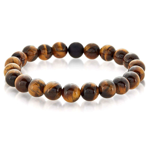 Crucible Men's Natural Healing Stone Beaded Stretch Bracelet - 8.5 Inches - Onyx
