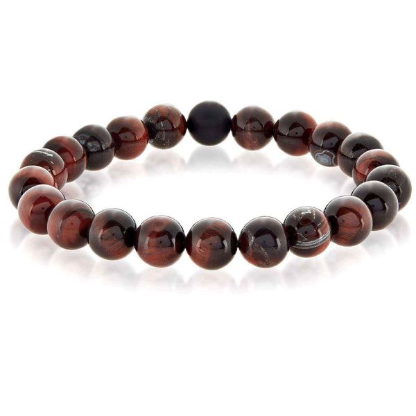 Crucible Men's Polished Red Tiger Eye and Black Matte Onyx Bead Stretch Bracelet - 8.5 inches (10mm Wide)