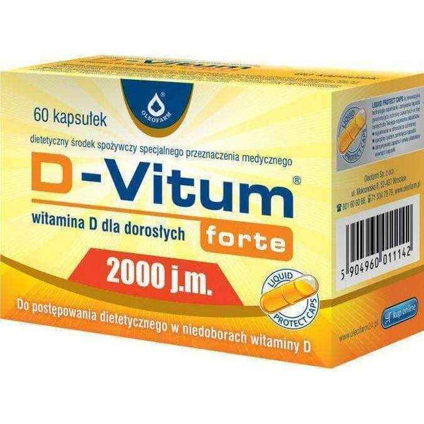 D-Vitum FORTE 2,000 IU of vitamin D for adults x 60 capsules, deficiency of vitamin d