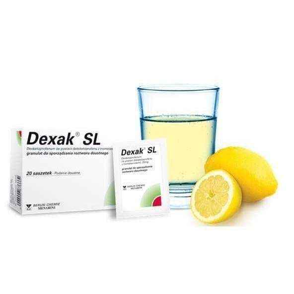 DEXAK SL 0.025 g granules for oral solution x 20 sachets, blocking the activity of cyclooxygenase