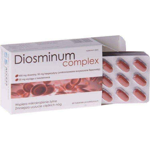 DIOSMINUM COMPLEX 0.5 g x 60 tablets, edema legs, leg swelling, swelling in legs, edema treatment