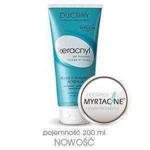 DUCRAY Keracnyl gel for face 200ml gently cleanses and purifies the skin prone to acne. Face and body. No soap.