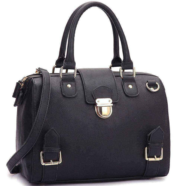 Satchel handbags |  Front Snap Lock Handbag | Black