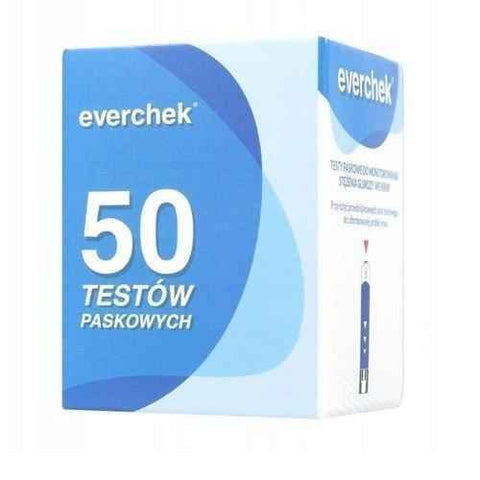 Everchek test strips for monitoring blood glucose x 50 pieces - ELIVERA