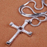 Silver necklace Fashionable Rhinestones Inlaid Cross
