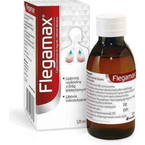 Flegamax syrup 120ml, carbocysteine, mucolytic effect - ELIVERA
