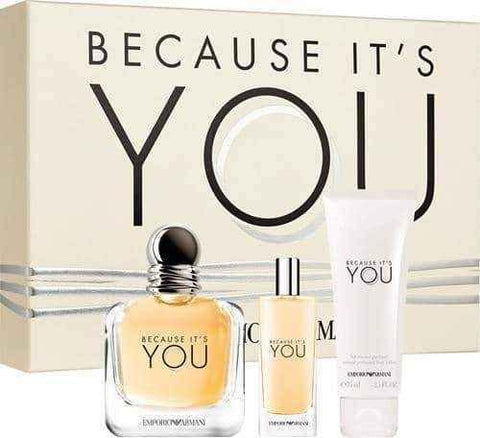 Giorgio Armani Because It's You Gift Set 100ml EDP + 15ml EDP + 75ml Body Lotion