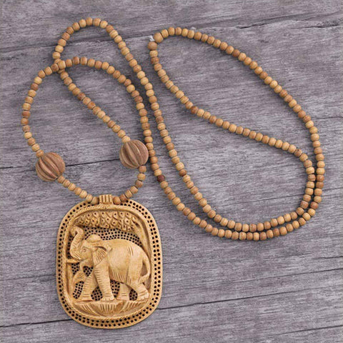 Handmade Kadam Wood 'Elephant Realm' Necklace (India)