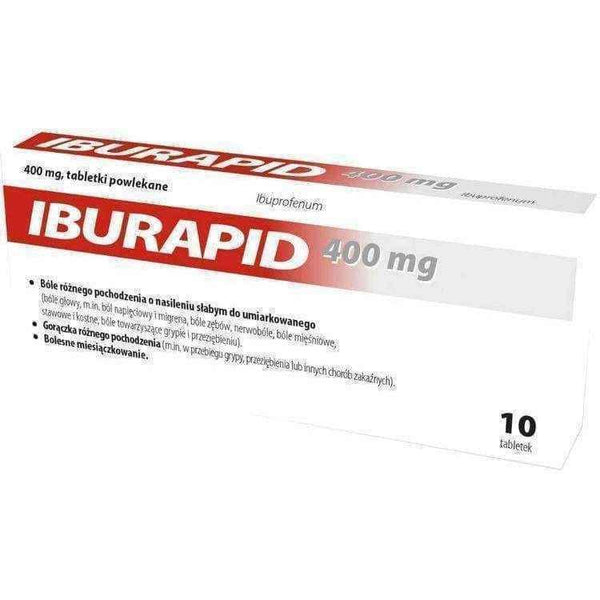 Iburapid 400mg x 10 tablets, ibuprofen.