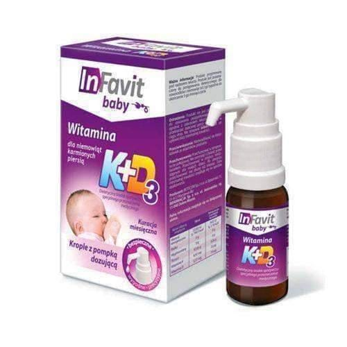 InFavit Baby K + D3 drops 10ml dispenser  for children from 2 weeks, infant care