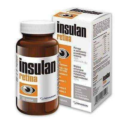 Insulan Retina x 60 tablets, glucose metabolism - ELIVERA UK, England, Britain, Review, Buy
