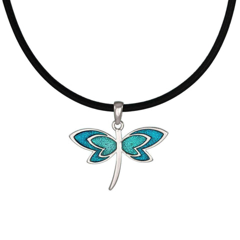 Jewelry by Dawn Turquoise Blue Dragonfly Greek Leather Cord Necklace