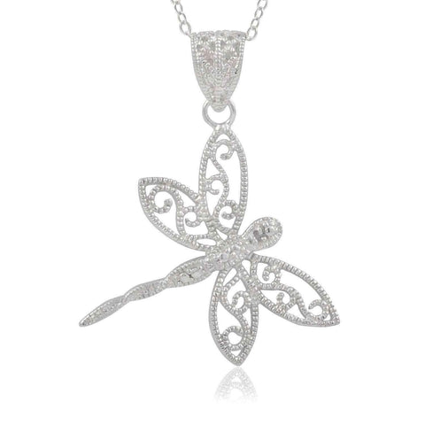 Journee Collection Sterling Silver Diamond Accent Dragonfly Pendant