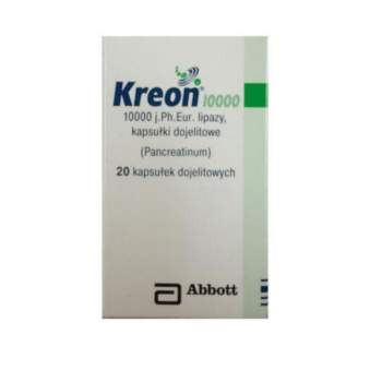 KREON 10000 x 20 capsules, pancreatic enzyme supplements.