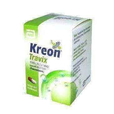 KREON Travix 150mg x 50 capsules, pancreatic enzyme replacement - ELIVERA UK, England, Britain, Review, Buy