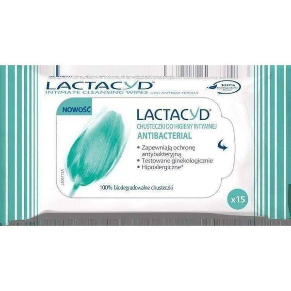 LACTACYD ANTIBACTERIAL wipes x 15 pieces bacterial infections within intimate spheres