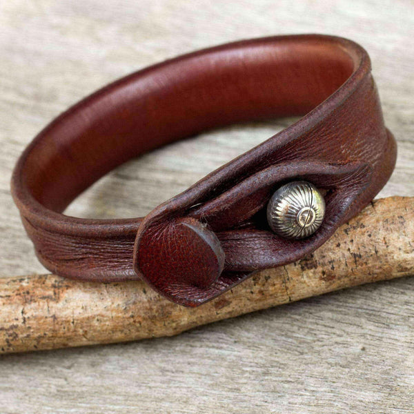 Sleek Chic Handmade Bangle Like Burnished Brown Leather with Hill Tribe Bell Bead Closure Womens Wristband Bracelet (Thailand)