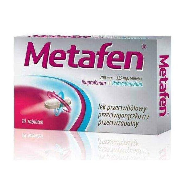 METAFEN x 10 tablets, paracetamol and ibuprofen.