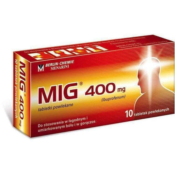 MIG 400mg x 10 tab antipyretic, anti-inflammatory and analgesic UK