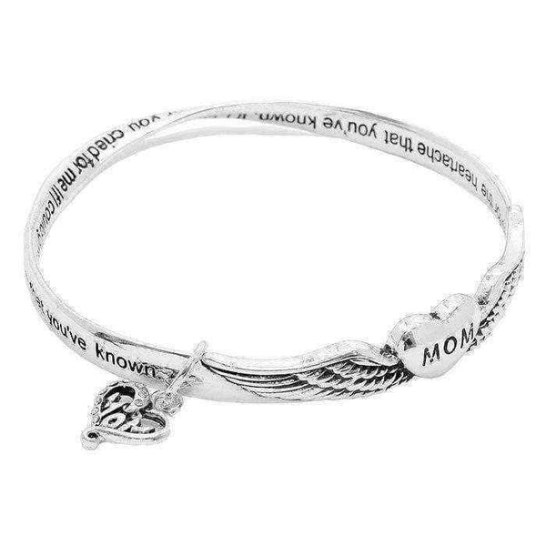 Bracelets For Women | 'Mom' White Brass Heart Charm Message Bracelet