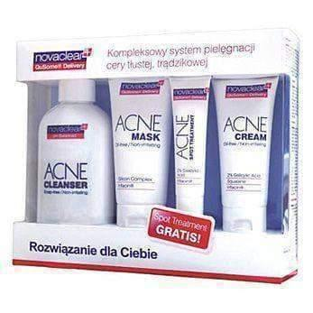 NOVACLEAR Promotional set- Acne Cleanser, Acne Mask, Acne Cream and Acne Spot Treatment.