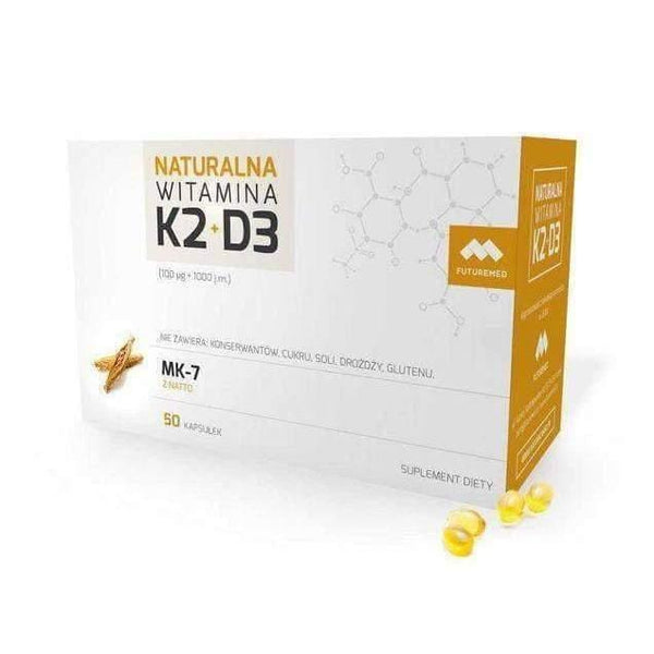 Natural Vitamin K2 100mcg (MK-7) + D3 1000 IU x 50 vitamin k supplement