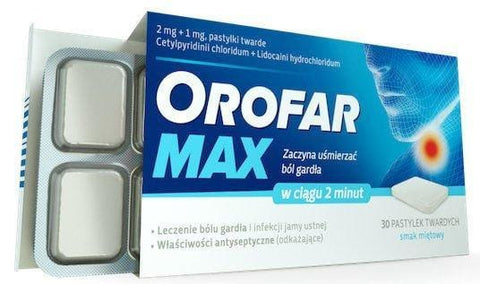 OROFAR MAX 30tb Sore Throat Pain Thrush Aphthae Ulcer Infection Treatment tablets UK