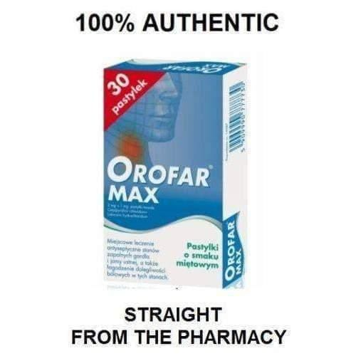 OROFAR MAX 30tb Sore Throat Pain Thrush Aphthae Ulcer Infection Treatment chewable tablets