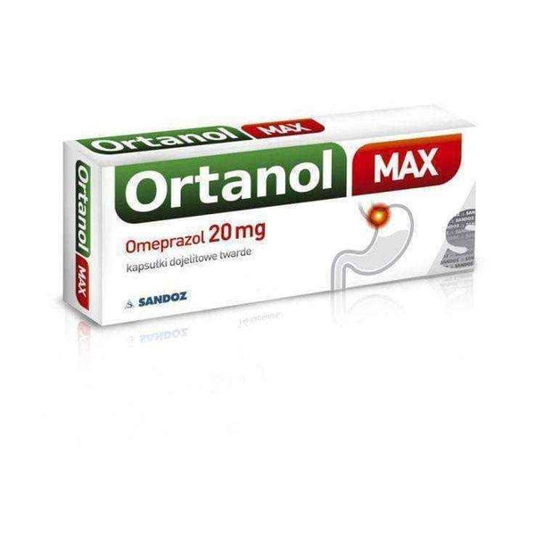 ORTANOL MAX 20mg x 14 capsules, esophagus problems - ELIVERA UK, England, Britain, Review, Buy