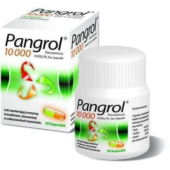 PANGROL 10000V PANCREATIN - 20 units indigestion, Stress, Gas, Bloating Relief! enzymes