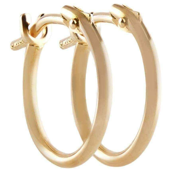 18k Yellow Gold Pori 2x10mm Circle Hoop Earrings