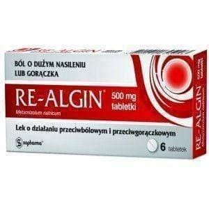 RE-ALGIN 500mg x 6 tablets analgesic, antipyretic, anti-inflammatory UK