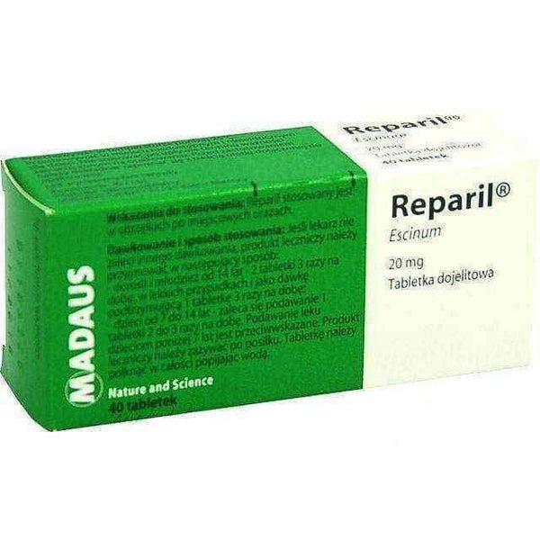 REPARIL x 40 dragee, varicose veins pain - ELIVERA UK, England, Britain, Review, Buy