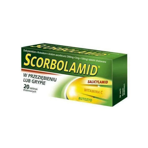 SCORBOLAMID x 20 dragee fever and pain associated with colds or flu, headaches, neuralgia.