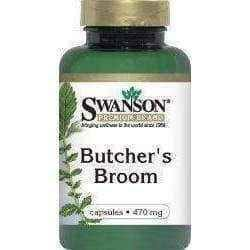 SWANSON Butcher's broom - Butcher barbed 470mg x 100 capsules.