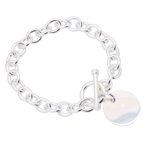 Stainless steel bracelets - Sterling Essentials Sterling Silver 7-inch Round Toggle Bracelet