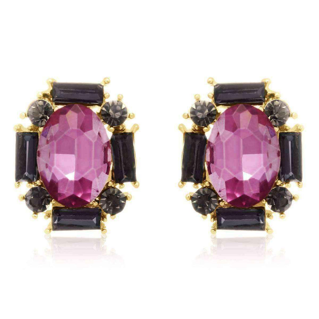 crystal de jet starshine john pave lion stud black women coeur earrings zoom