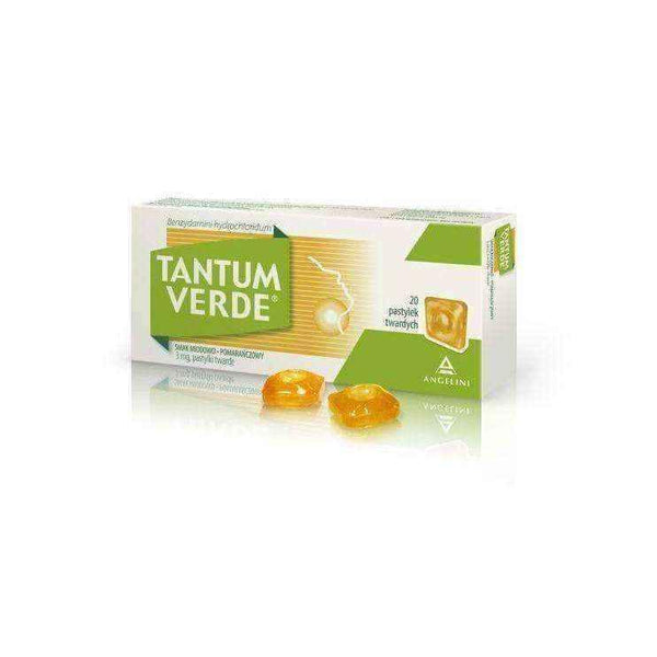 TANTUM VERDE 3mg x 20 lozenges honey-orange flavor.