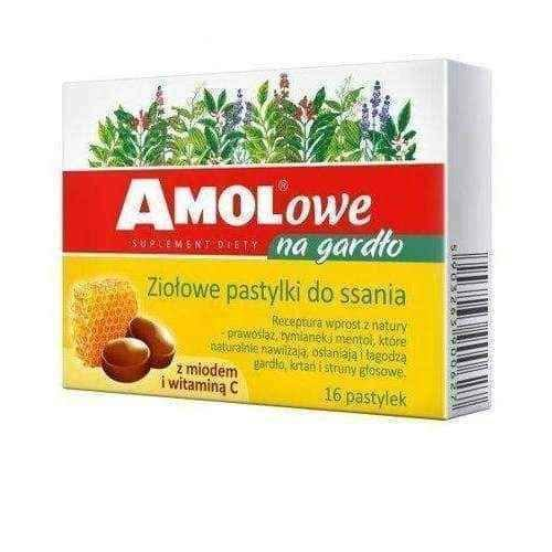 Throat lozenges with lemon and honey x 16 pastilles Amolowe.