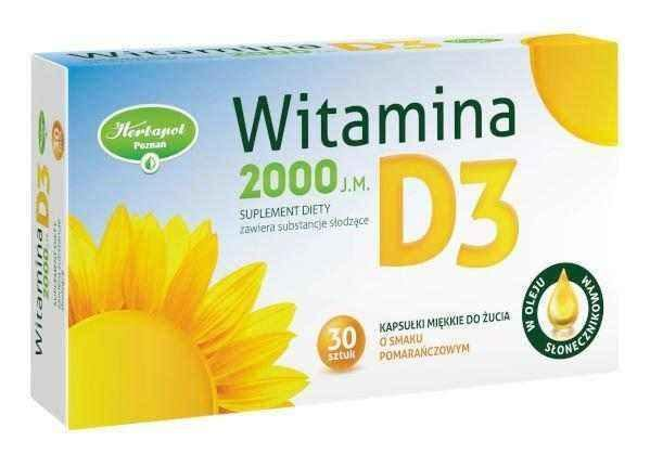Vitamin D3 2000 IU x 30 soft chewable capsules with orange flavor