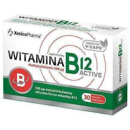Vitamin B12 Active Methylcobalamin 500μg x 30 capsules.