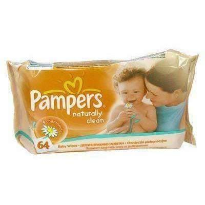 WIPES PAMPERS BABY NATURALLY CLEAN x 64 art