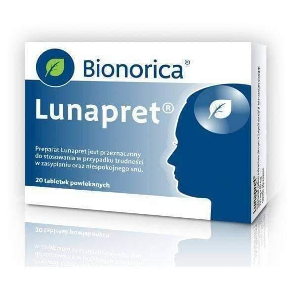 LUNAPRET BIONORICA x 20 tablets difficulty in falling asleep and restless sleep