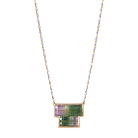 Double Tourmaline Brick Necklace