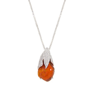 Orange Opal Space Rock Necklace