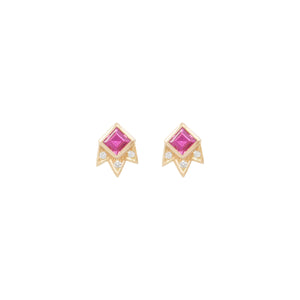 Starburst Stud Princess Cut Earring