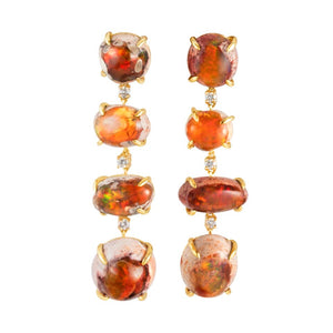 Orange Opal Earring