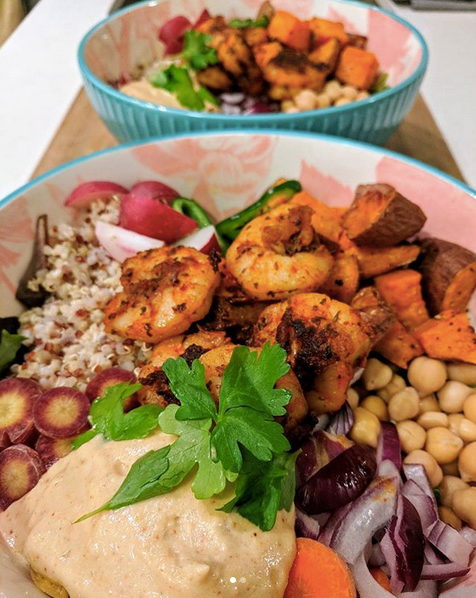 Spicy shrimp Buddha bowl with home-made tahini-lemon dressing