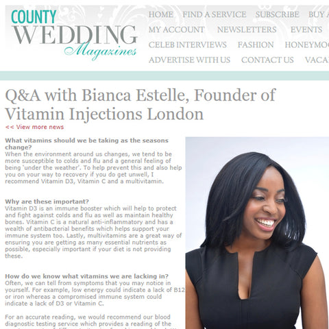 FEATURED IN COUNTY WEDDING MAGAZINE – Q&A WITH BIANCA ESTELLE, FOUNDER OF VITAMIN INJECTIONS LONDON